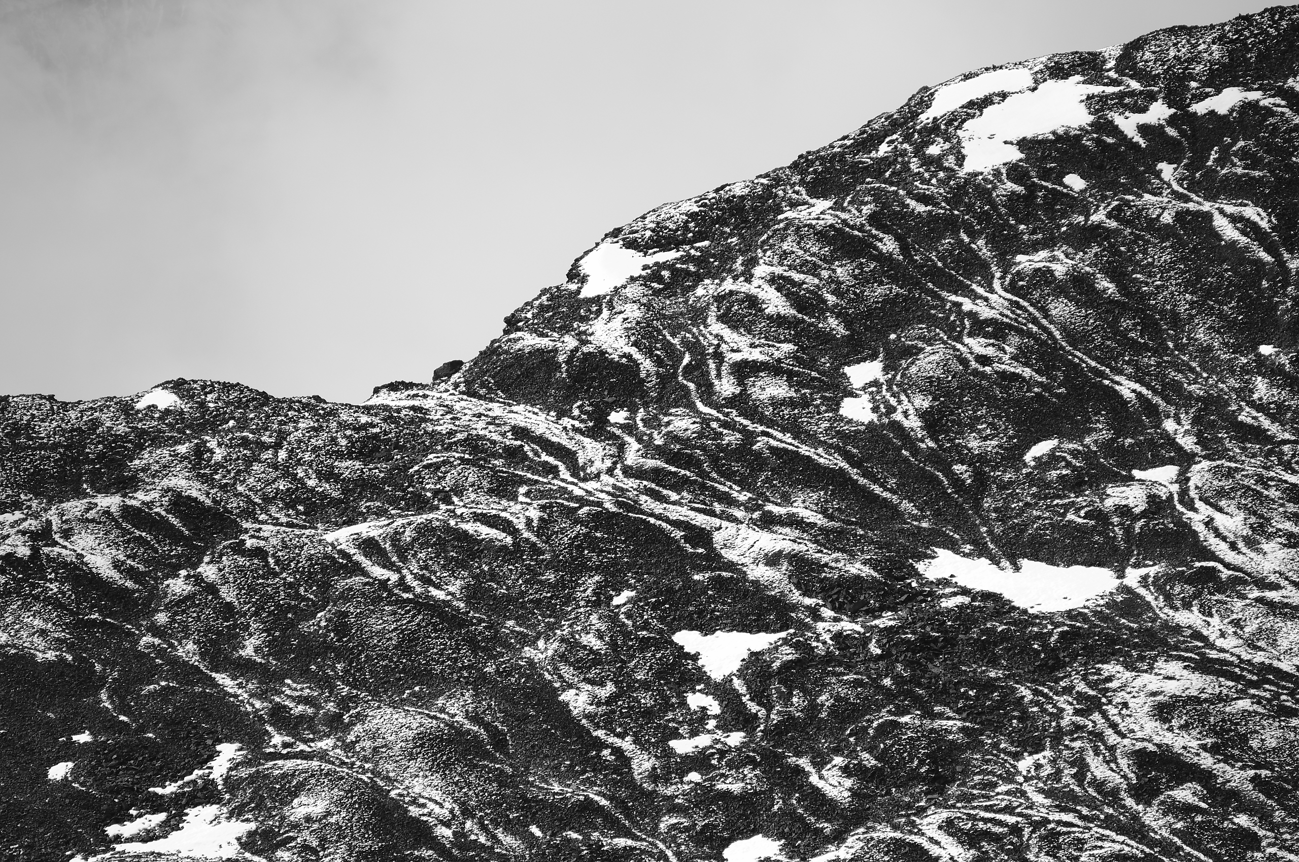 An abstract photograph, lacking any scale reference, of mountain snow.
